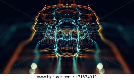 Circuit board futuristic server code processing. Orange green blue technology background with bokeh. 3d Illustration