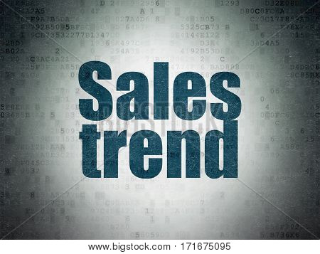 Marketing concept: Painted blue word Sales Trend on Digital Data Paper background