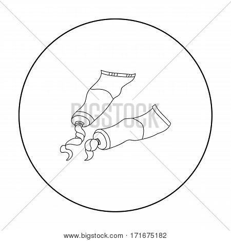 Tubes of paint icon in outline style isolated on white background. Artist and drawing symbol vector illustration.
