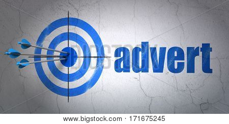 Success advertising concept: arrows hitting the center of target, Blue Advert on wall background, 3D rendering