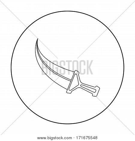 Khanjar icon in outline style isolated on white background. Arab Emirates symbol vector illustration.