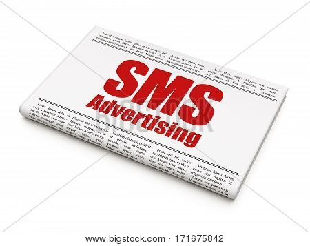 Advertising concept: newspaper headline SMS Advertising on White background, 3D rendering