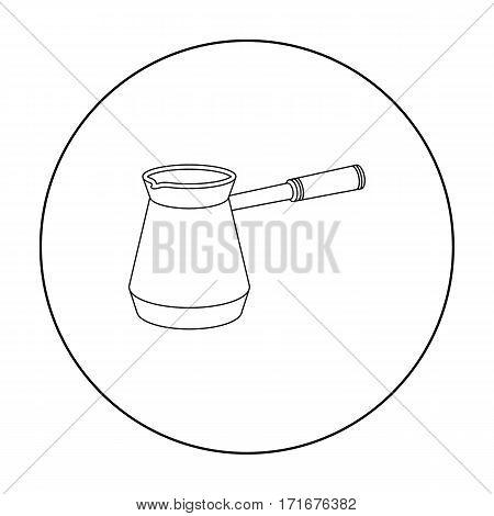 Cezve icon in outline style isolated on white background. Arab Emirates symbol vector illustration.