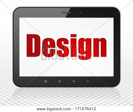 Advertising concept: Tablet Pc Computer with red text Design on display, 3D rendering