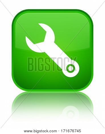 Wrench Icon Shiny Green Square Button