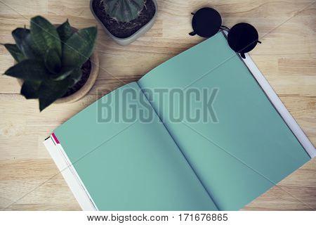 Blank Notebook Cactus Plant Sunglasses