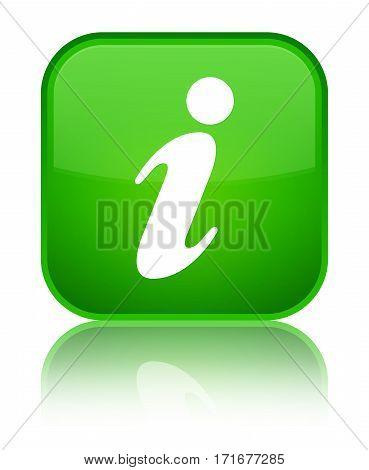 Info Icon Shiny Green Square Button
