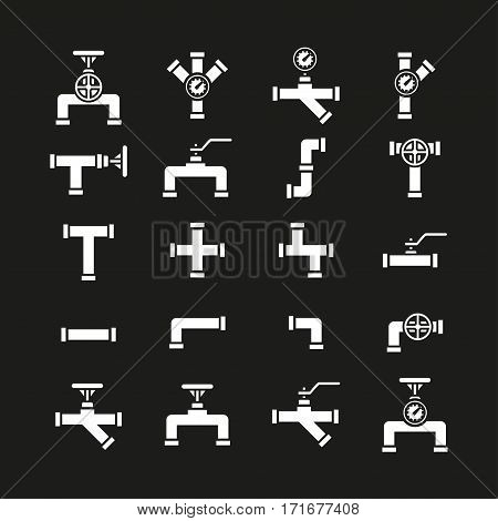 Vector icon set pipe parts. Simple silhouettes of tubes, valves, taps, manometer and pipe connectors. Pipeline and sewer systems.