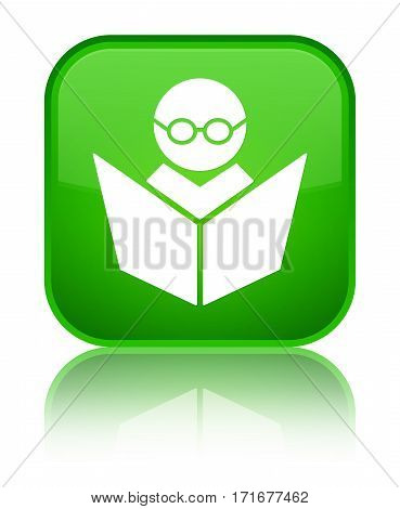 Elearning Icon Shiny Green Square Button