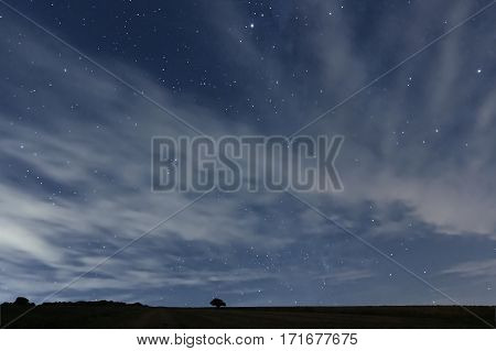 Cloudy Night Sky With Stars. Night Background. Night Sky.
