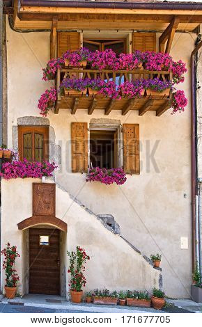 Summertime flowers adorn a residence in Talloires, France.