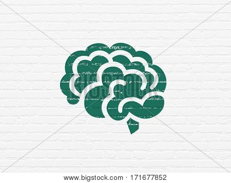 Healthcare concept: Painted green Brain icon on White Brick wall background