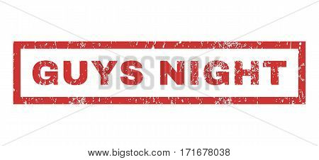 Guys Night text rubber seal stamp watermark. Tag inside rectangular shape with grunge design and dust texture. Horizontal vector red ink sign on a white background.