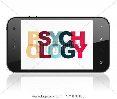 Healthcare concept: Smartphone with Painted multicolor text Psychology on display, 3D rendering