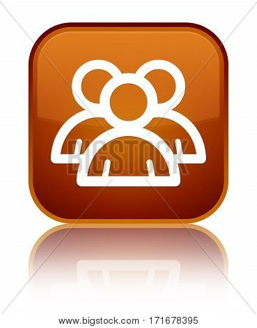 Group Icon Shiny Brown Square Button