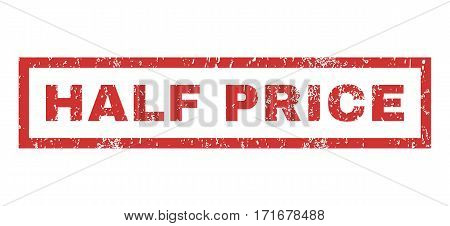 Half Price text rubber seal stamp watermark. Caption inside rectangular banner with grunge design and dust texture. Horizontal vector red ink sign on a white background.
