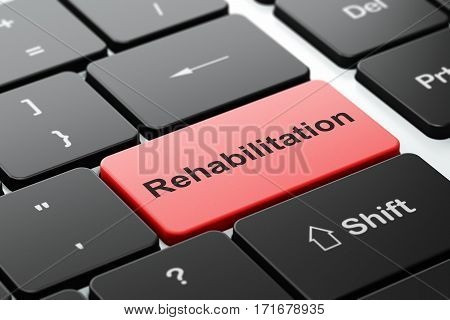 Medicine concept: computer keyboard with word Rehabilitation, selected focus on enter button background, 3D rendering