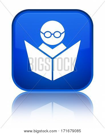 Elearning Icon Shiny Blue Square Button