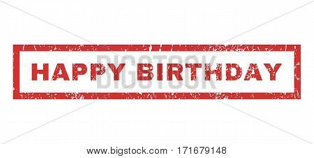 Happy Birthday text rubber seal stamp watermark. Caption inside rectangular banner with grunge design and dust texture. Horizontal vector red ink sticker on a white background.