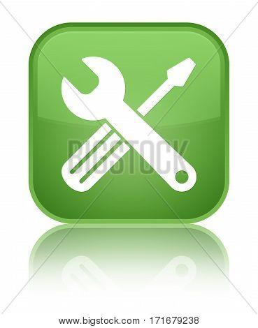 Tools Icon Shiny Soft Green Square Button