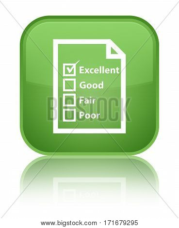 Questionnaire Icon Shiny Soft Green Square Button