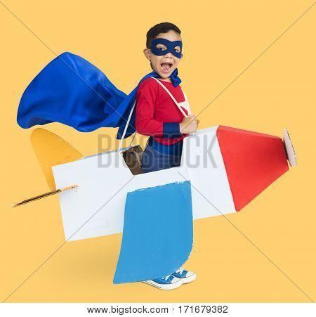 Little Boy Superhero Plane Concept