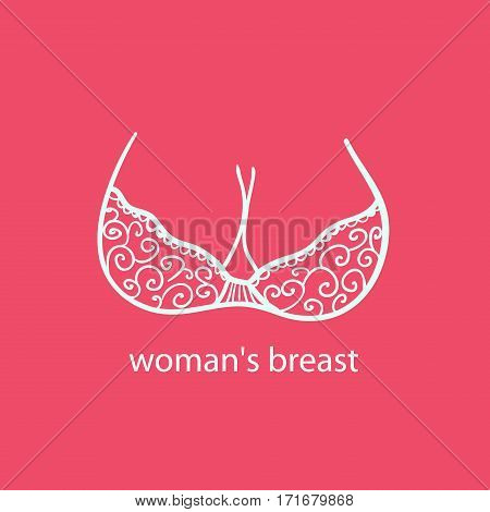 Woman's breast icon logo.Boobs icon love adult content sex shop bra and boobs human body parts. Girls boobs naked adult two boobs colorful  shop cartoon style