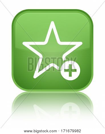 Add To Favorite Icon Shiny Soft Green Square Button