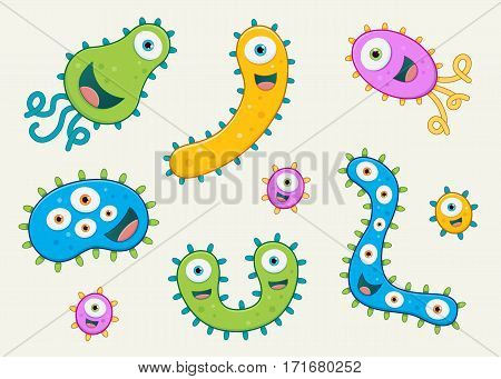Set of germ vector illustrations - blue, green, pink and yellow