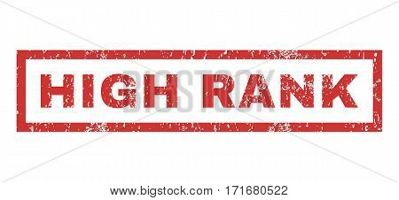 High Rank text rubber seal stamp watermark. Tag inside rectangular shape with grunge design and dirty texture. Horizontal vector red ink sticker on a white background.