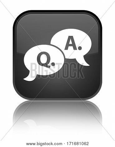 Question Answer Bubble Icon Shiny Black Square Button