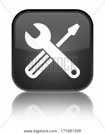 Tools Icon Shiny Black Square Button