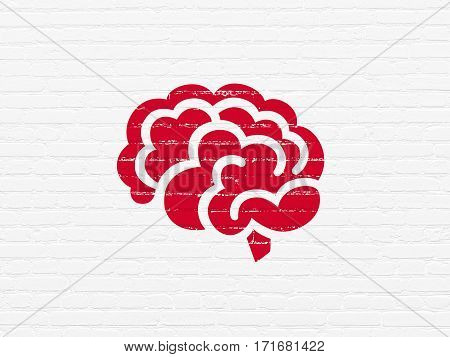 Science concept: Painted red Brain icon on White Brick wall background
