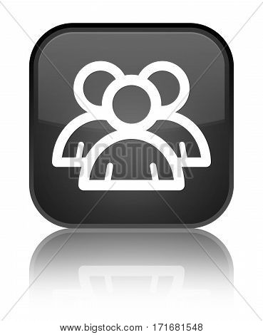 Group Icon Shiny Black Square Button