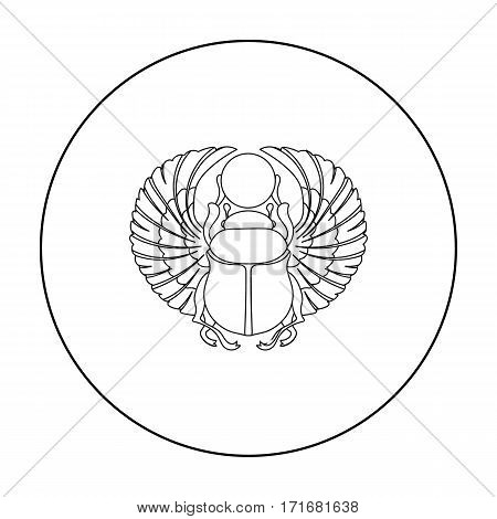 Scarab icon in outline style isolated on white background. Ancient Egypt symbol vector illustration.