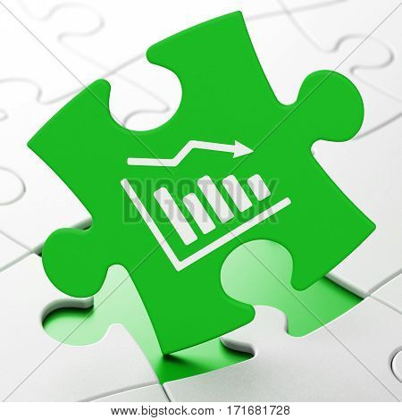 News concept: Decline Graph on Green puzzle pieces background, 3D rendering