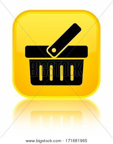 Shopping Cart Icon Shiny Yellow Square Button