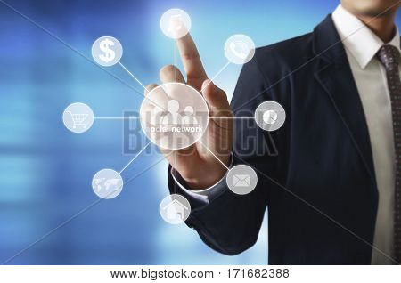 Hand touch virtual icon of social network