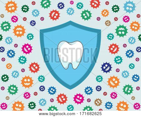 Shield protecting tooth against green germs / bacteria