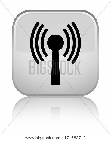 Wlan Network Icon Shiny White Square Button