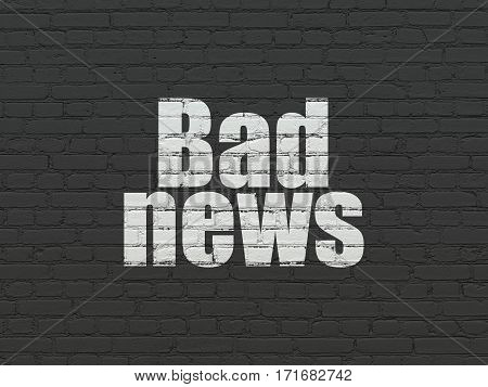 News concept: Painted white text Bad News on Black Brick wall background