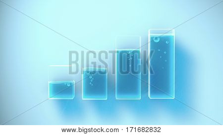 Several containers with different liquid levels. Concept illustration