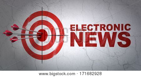 Success news concept: arrows hitting the center of target, Red Electronic News on wall background, 3D rendering