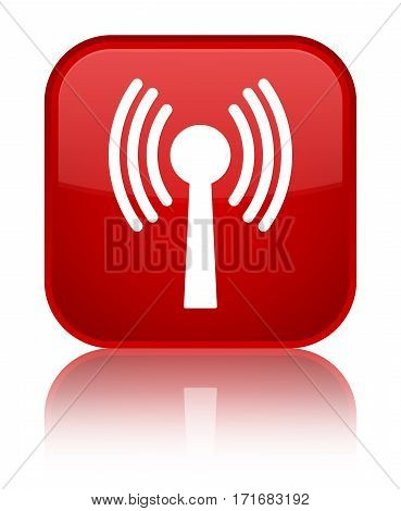 Wlan Network Icon Shiny Red Square Button
