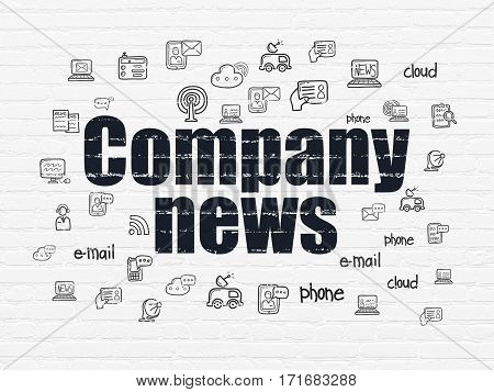 News concept: Painted black text Company News on White Brick wall background with  Hand Drawn News Icons