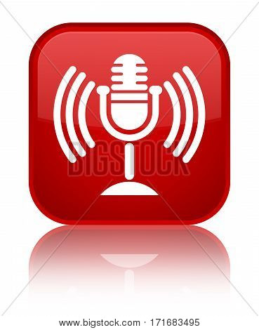 Mic Icon Shiny Red Square Button