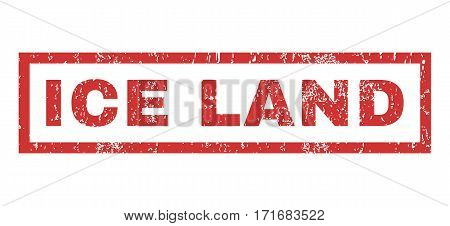 Ice Land text rubber seal stamp watermark. Caption inside rectangular shape with grunge design and dust texture. Horizontal vector red ink sticker on a white background.