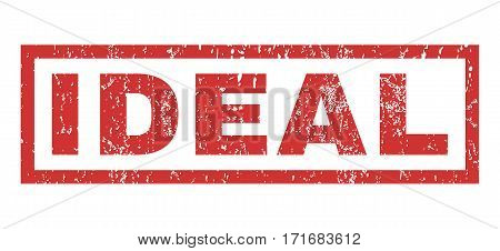 Ideal text rubber seal stamp watermark. Caption inside rectangular shape with grunge design and dust texture. Horizontal vector red ink sign on a white background.
