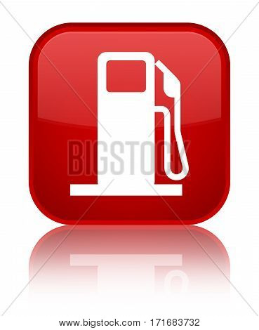 Fuel Dispenser Icon Shiny Red Square Button
