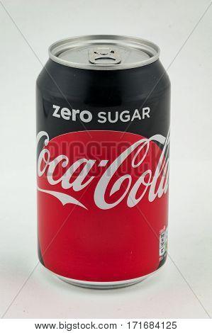 CHESTER UNITED KINGDOM - February 12 2017: Coca-Cola Zero Can on white background.